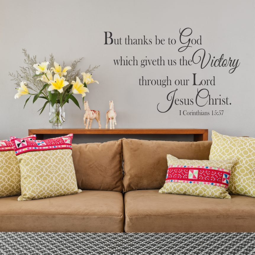 1 corinthians 15 57 but thanks be to god wall decal kjv a great impression. Black Bedroom Furniture Sets. Home Design Ideas
