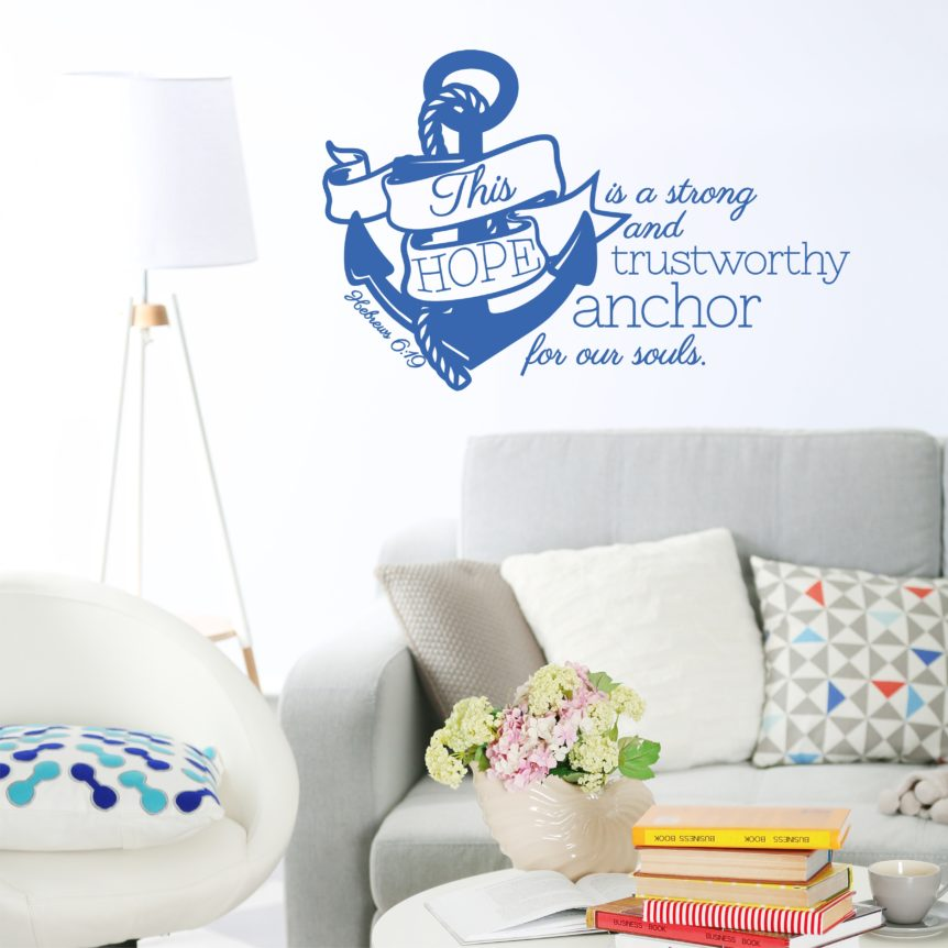 Nautical Theme Wall Decal With Anchor Bible Verse From Hebrews