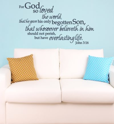 John 3:16 For God So Loved The World Wall Decal