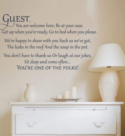Guest You Are Welcome Here Wall Decal