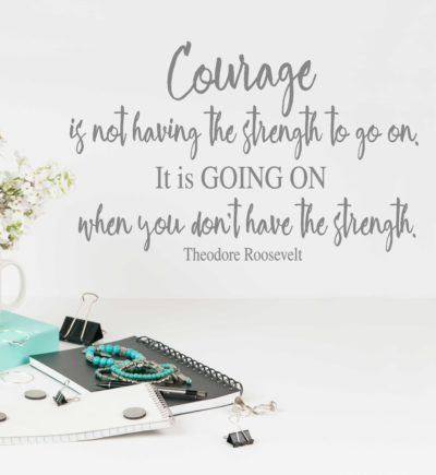 Courage quote by Theodore Roosevelt wall decal