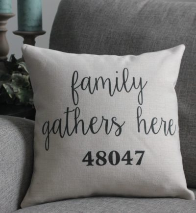 Personalized Linen Pillow Cover Family Gathers Here With Zip Code