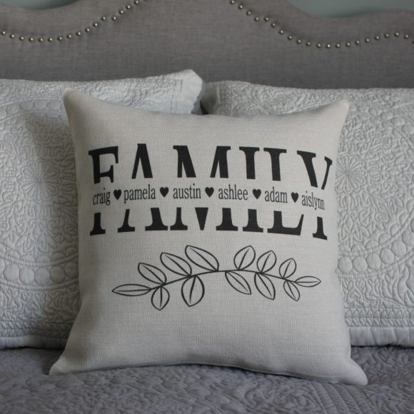 Personalized Linen Pillow Cover With Family Names
