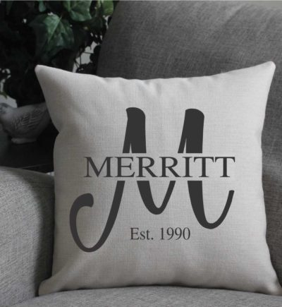 Personalized Linen Pillow Cover Last Name & Year Established