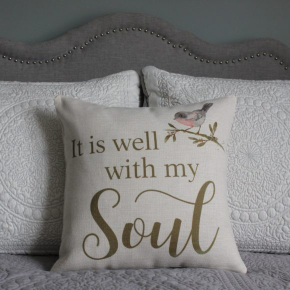 It is well with my soul linen pillow cover with watercolor bird on branch
