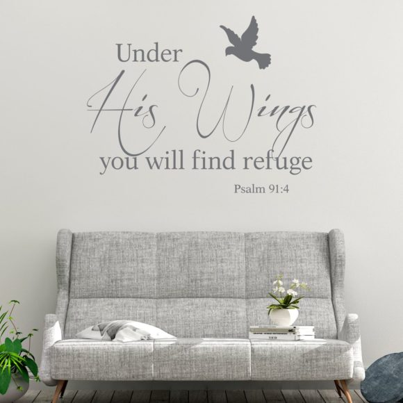 Psalm 91.4 Under His Wings with bird wall art