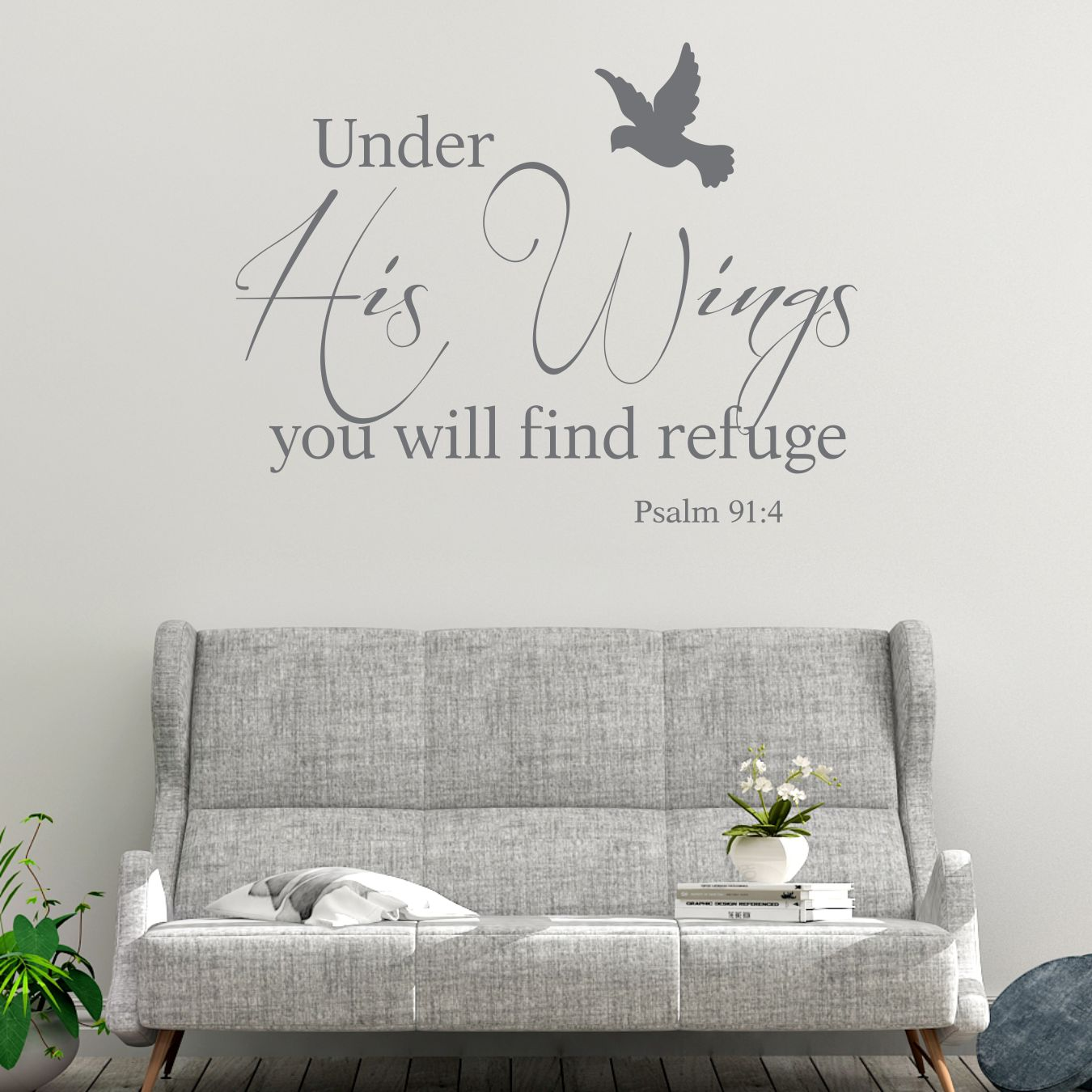 Psalm 91 4 Under His Wings Bible Verse Wall Decal