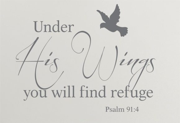 Psalm 91.4 Under His Wings with bird wall art.2