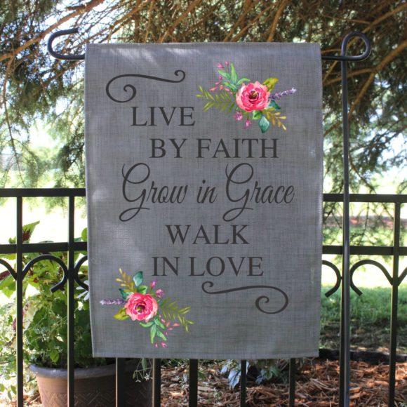 Outdoor Garden Flag Grow In Grace With Pastel Flowers.2