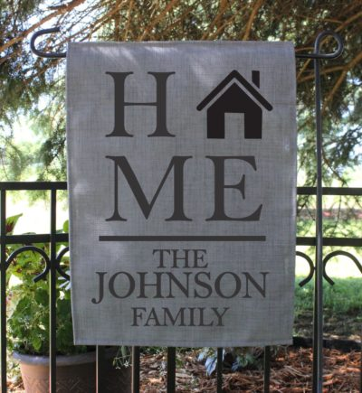 Personalized Garden Flag With Last Name and House Image.1