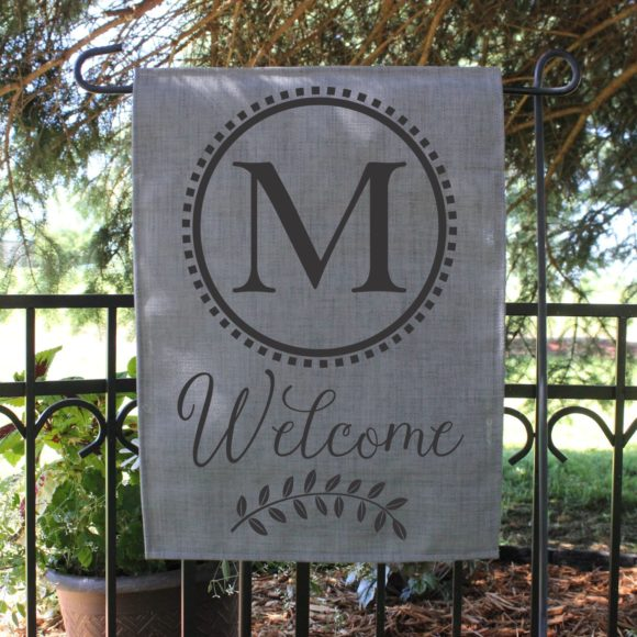 Personalized Outdoor Welcome Garden Flag with Last Initial.1