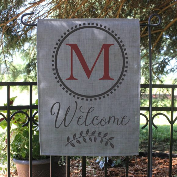 Personalized Outdoor Welcome Garden Flag with Last Initial.2
