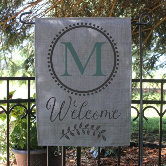 Personalized Outdoor Welcome Garden Flag with Last Initial.3