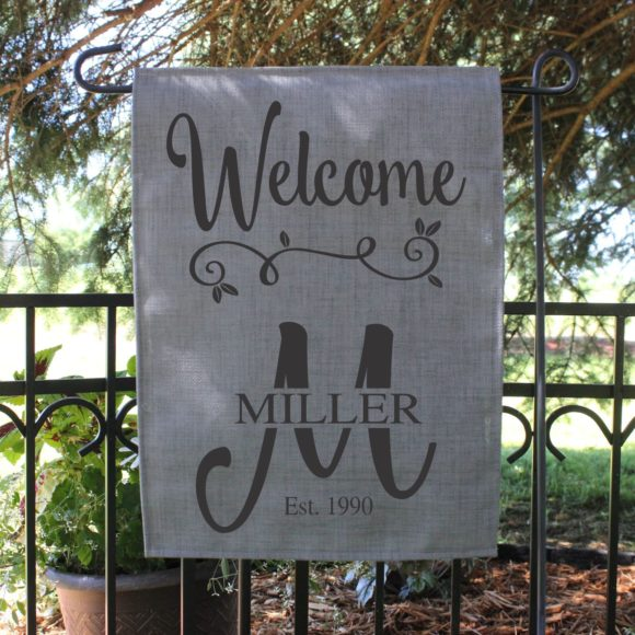 Personalized Welcome Garden Flag with Last Name and Year Established.1