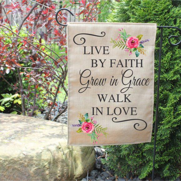 Outdoor Garden Flag Grow In Grace With Pastel Flowers.1