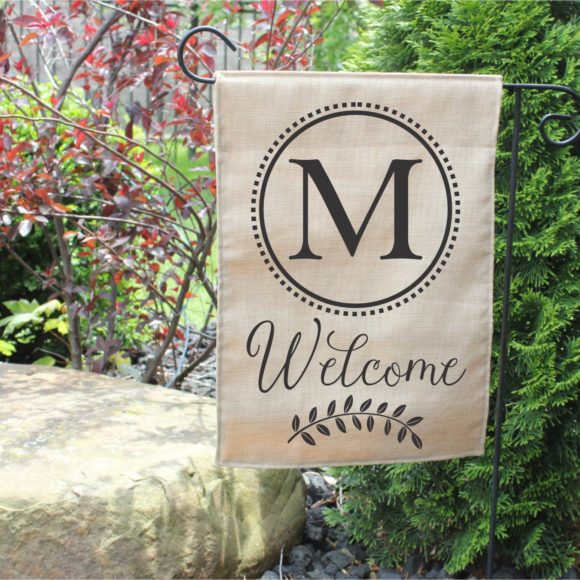 Personalized Outdoor Welcome Garden Flag with Last Initial.6