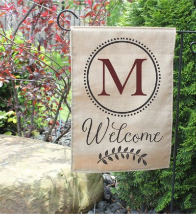 Personalized Outdoor Welcome Garden Flag with Last Initial.4