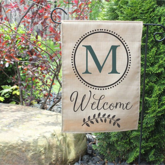 Personalized Outdoor Welcome Garden Flag with Last Initial.5
