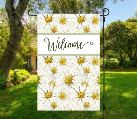 Daisy Welcome Garden Flag