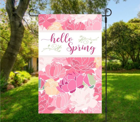 Hello Spring Garden Flag with Pink Peonies