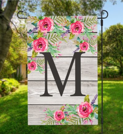 Personalized Last Name Initial Floral Garden Flag