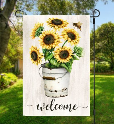 Sunflower Rustic Garden Flag