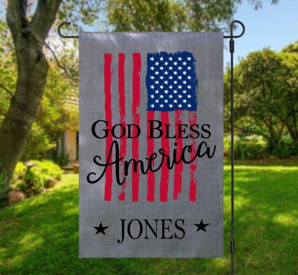 God Bless America Garden Flag Gray
