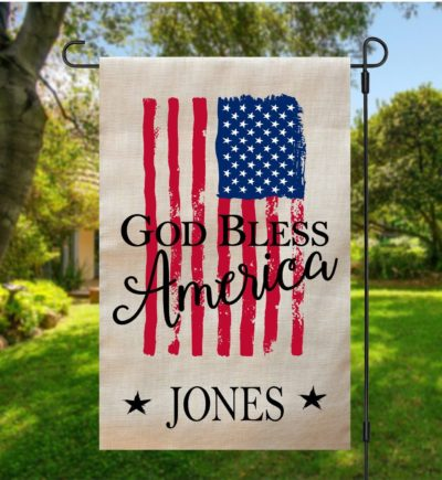 God Bless America Garden Flag Gray