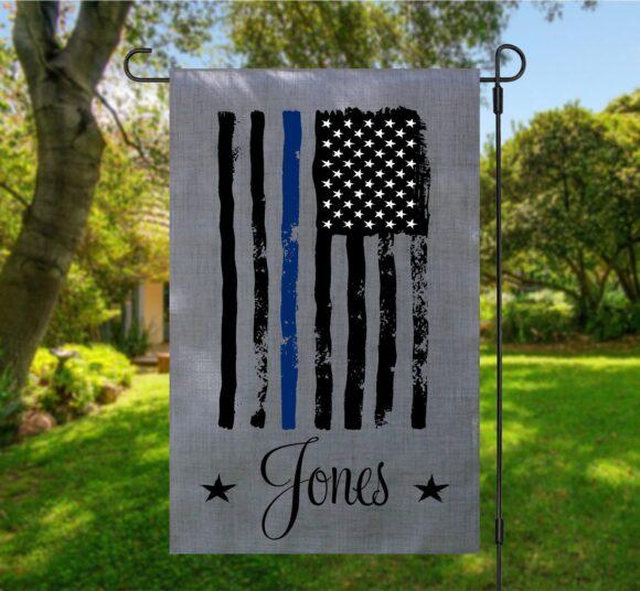 Police American Garden Flag Gray