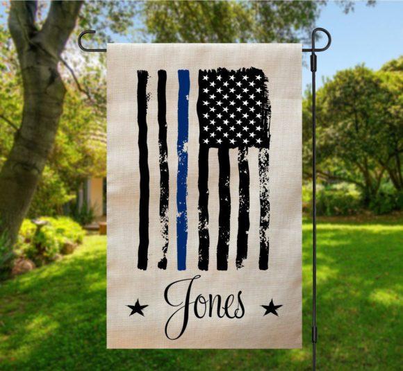 Police American Garden Flag Tan