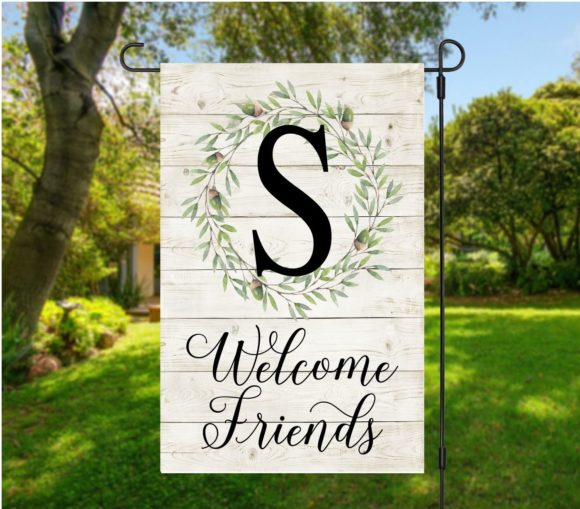 Personalized Farmhouse Wreath Garden Flag