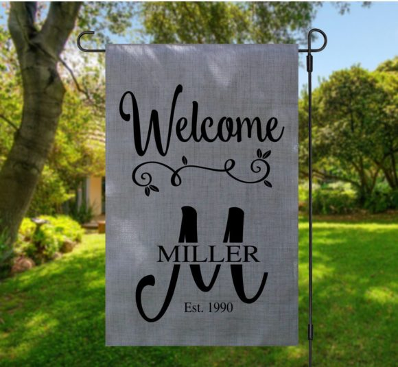 Personalized Last Name Welcome Garden Flag