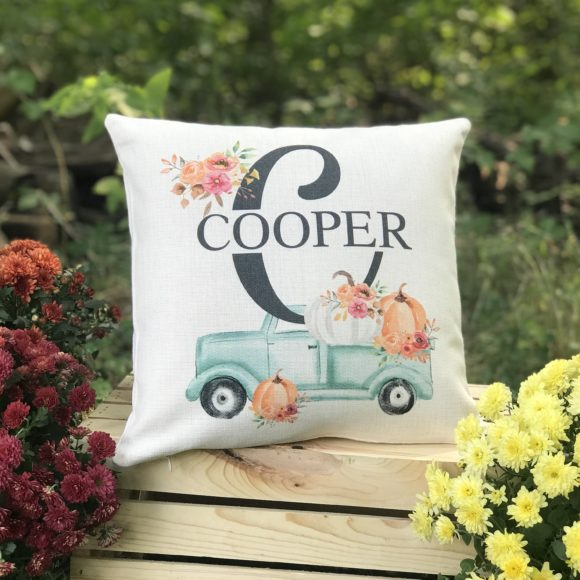 Fall Farmhouse Truck Pumpkin Pillow