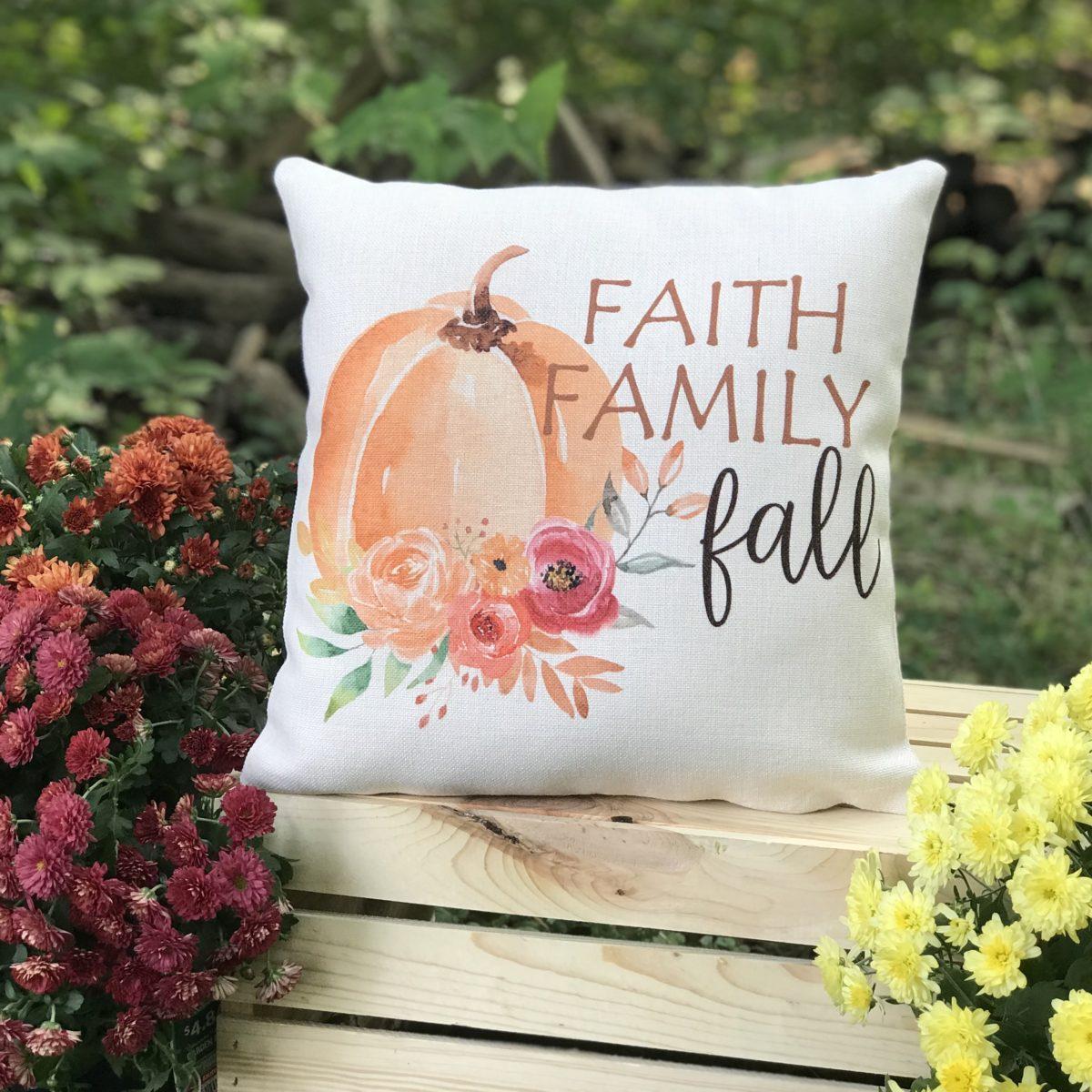 Faith Family Fall Linen Pumpkin Pillow