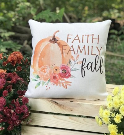 Faith Family Fall Linen Pumpkin Pillow