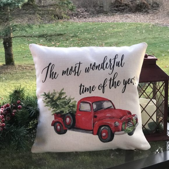 It's The Most Wonderful Time Of The Year Red Vintage Truck Inspired Pillow