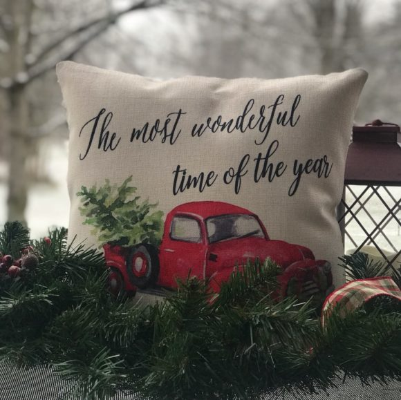It Is The Most Wonderful Time Of The Year Hallmark Truck Pillow