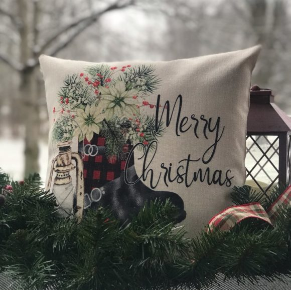 Merry Christmas Rustic Boots Pillow