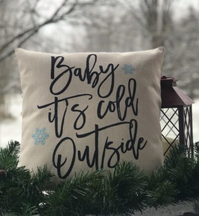 Baby It is Cold Outside Linen Pillow Cover