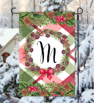 Personalized Holiday Christmas Wreath Garden Flag
