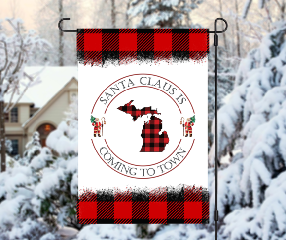 Personalized Santa Claus Is Coming To Town Buffalo Plaid State Garden Flag