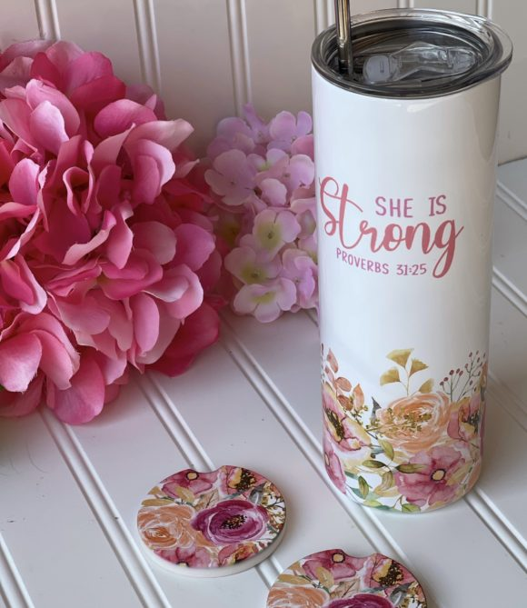 Proverbs 31:25 Skinny Tumbler by A Great Impression