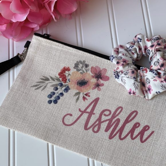 Personalized Cosmetic Pouch and matching hair scrunchie by A Great Impression